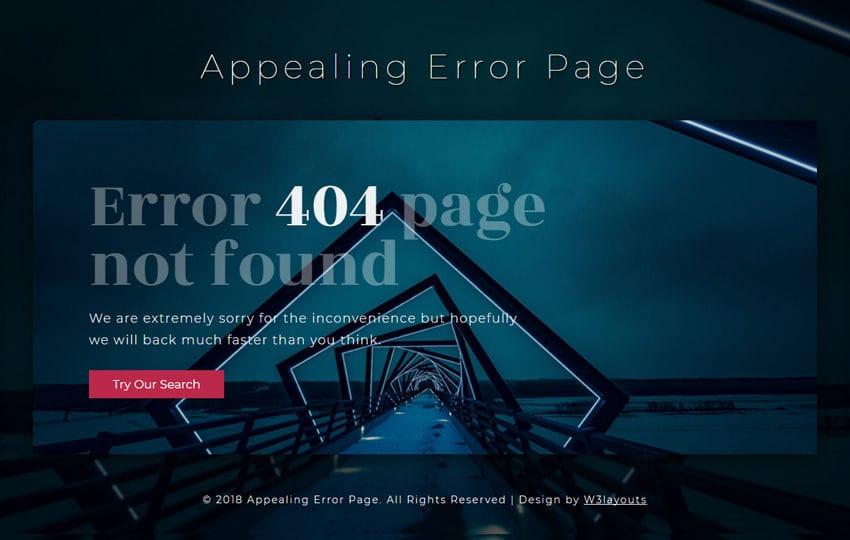 Appealing Error Page Responsive Widget Template Mobile website template Free