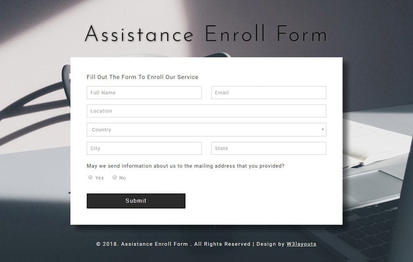 Assistance Enroll Form a Responsive Widget Template Mobile website template Free