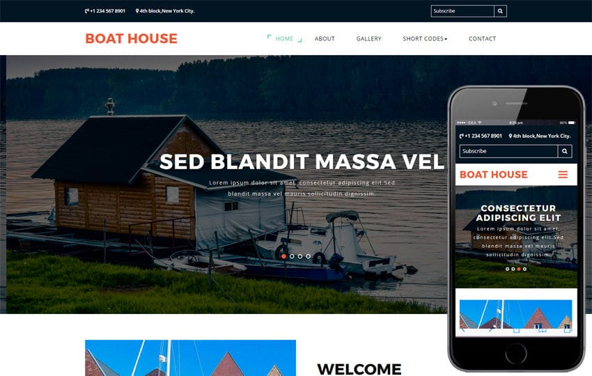 Boat house a Travel Category Bootstrap Responsive Web Template Mobile website template Free
