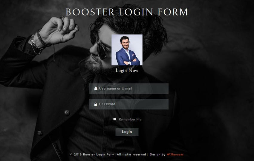 Booster Login Form a Flat Responsive Widget Template Mobile website template Free