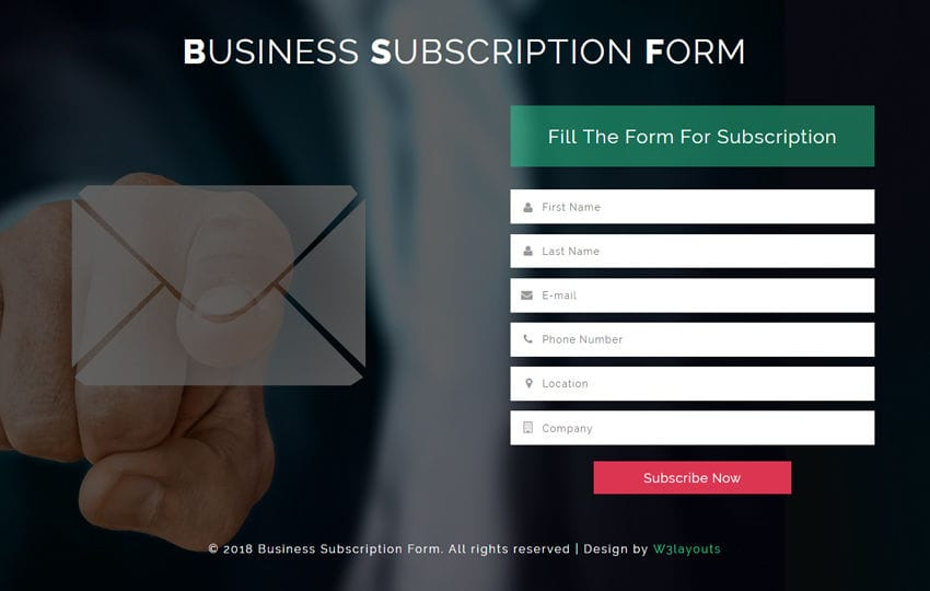 Business Subscription Form a Flat Responsive Widget Template Mobile website template Free
