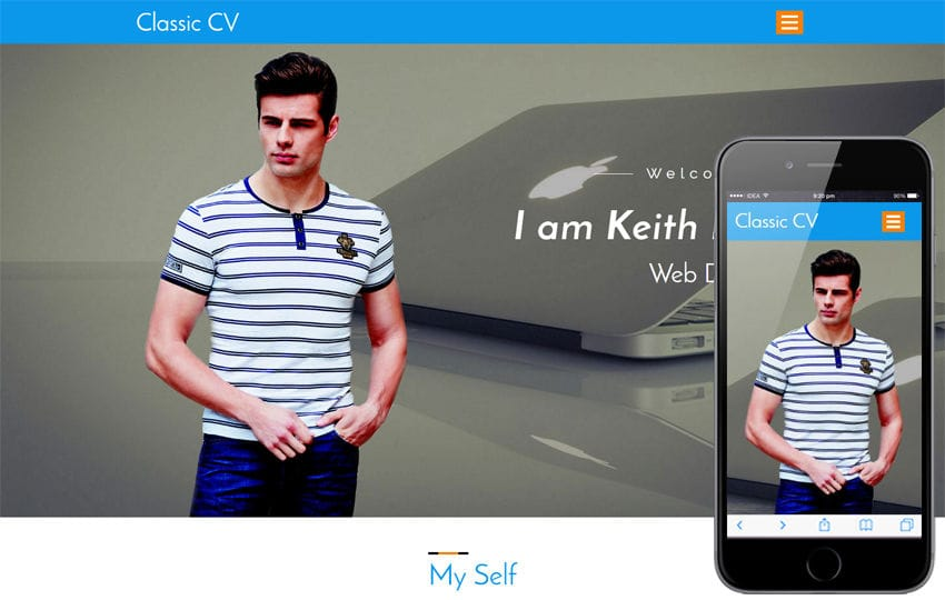 Classic CV a Personal Category Bootstrap Responsive Web Template Mobile website template Free
