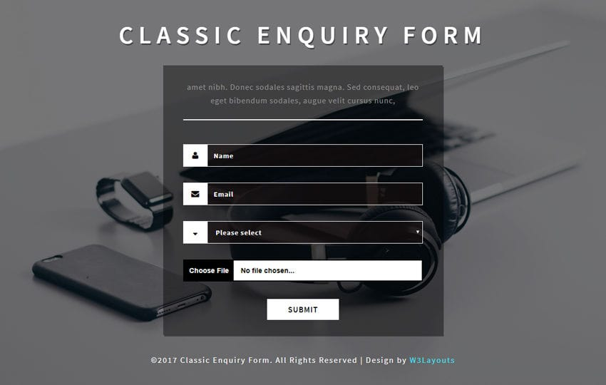 classic enquiry form a flat responsive widget templateEnquiry Form Template #13