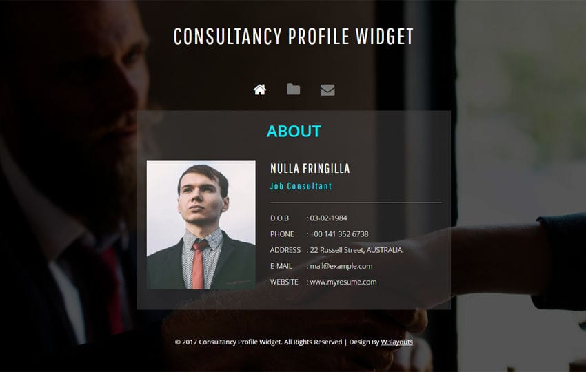 Consultancy Profile Widget a Flat Responsive Widget Template Mobile website template Free
