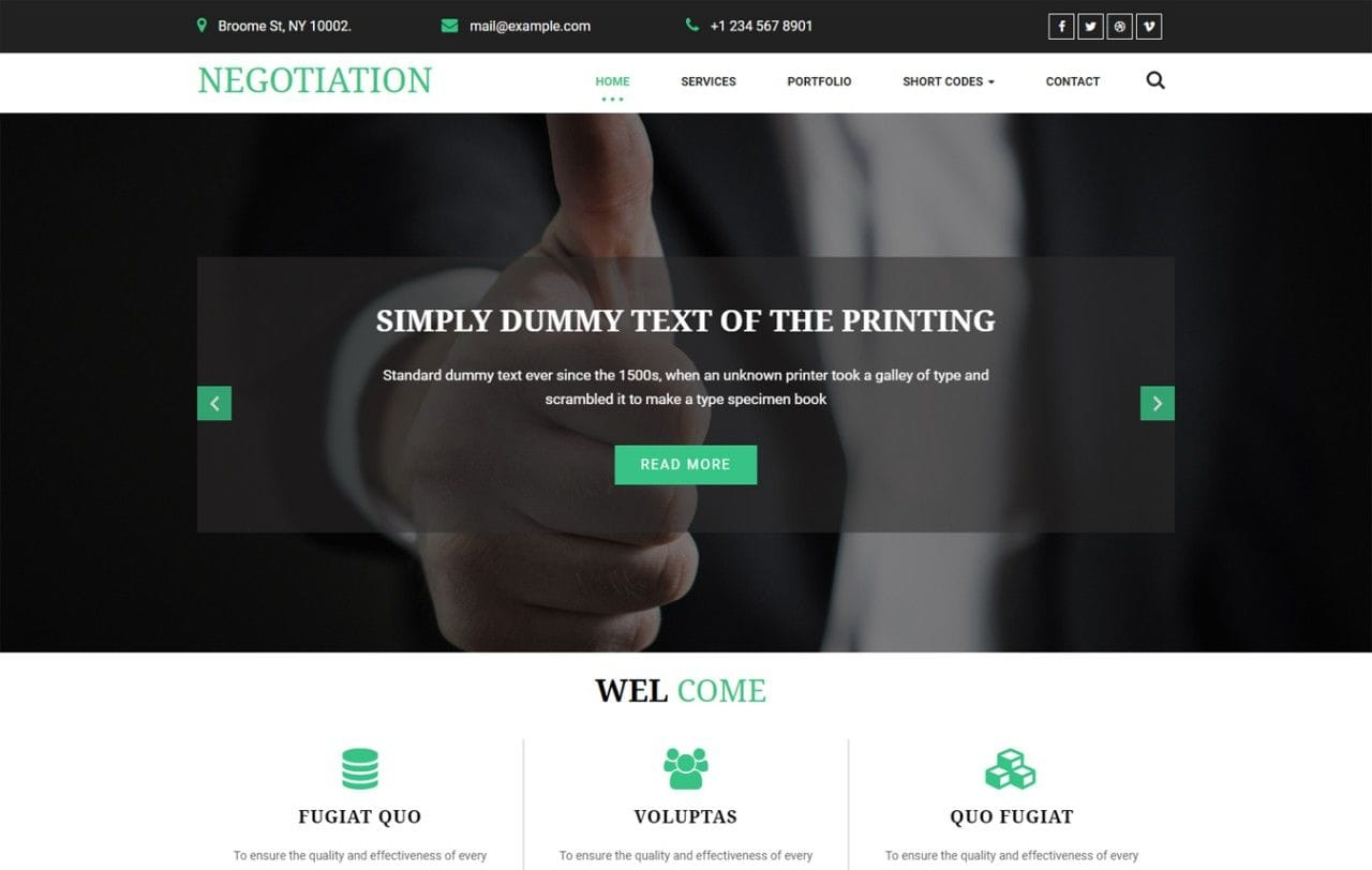 Negotiation a Corporate Category Bootstrap Responsive Web Template Mobile website template Free