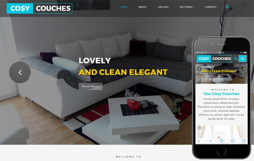 Cosy Couches an Interior Category Bootstrap Responsive Web Template Mobile website template Free
