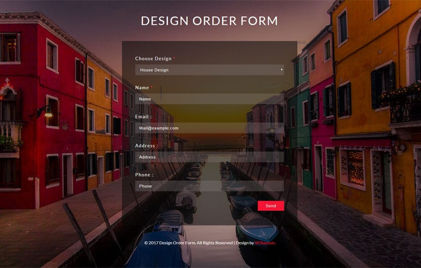 Design Order Form a Flat Responsive Widget Template Mobile website template Free