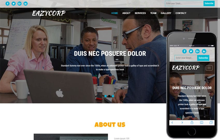 Eazycorp a Corporate Category Bootstrap Responsive Web Template Mobile website template Free