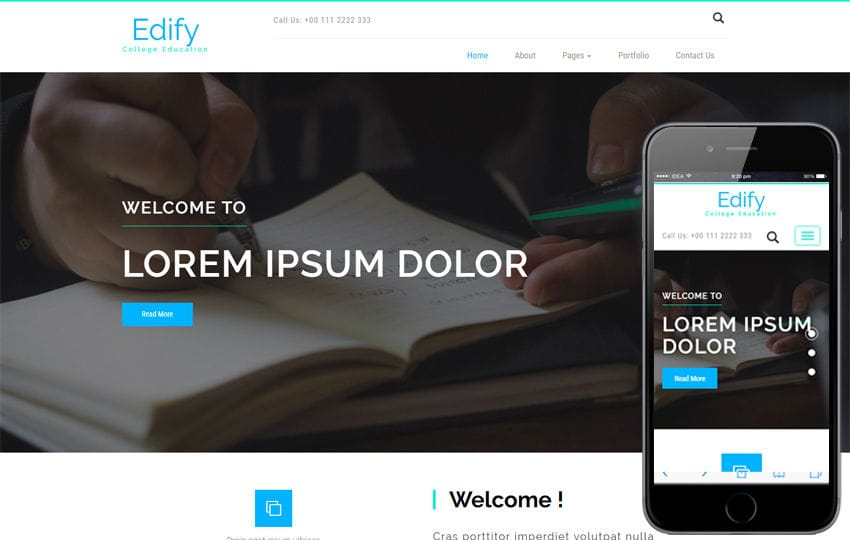 Edify an Education Category Bootstrap Responsive Web Template Mobile website template Free