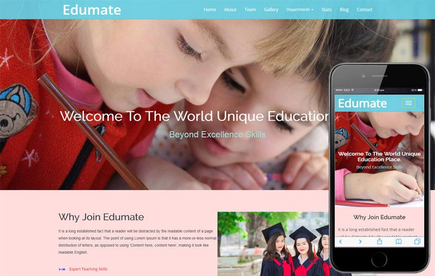 Edumate an Education Category Bootstrap Responsive Web Template Mobile website template Free