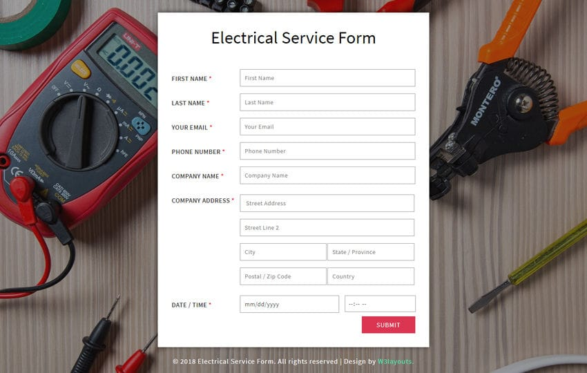 Electrical Service Form a Flat Responsive Widget Template Mobile website template Free