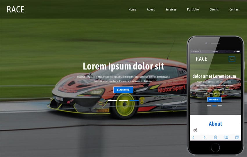 Race a Sports Category Flat Bootstrap Responsive Web Template Mobile website template Free
