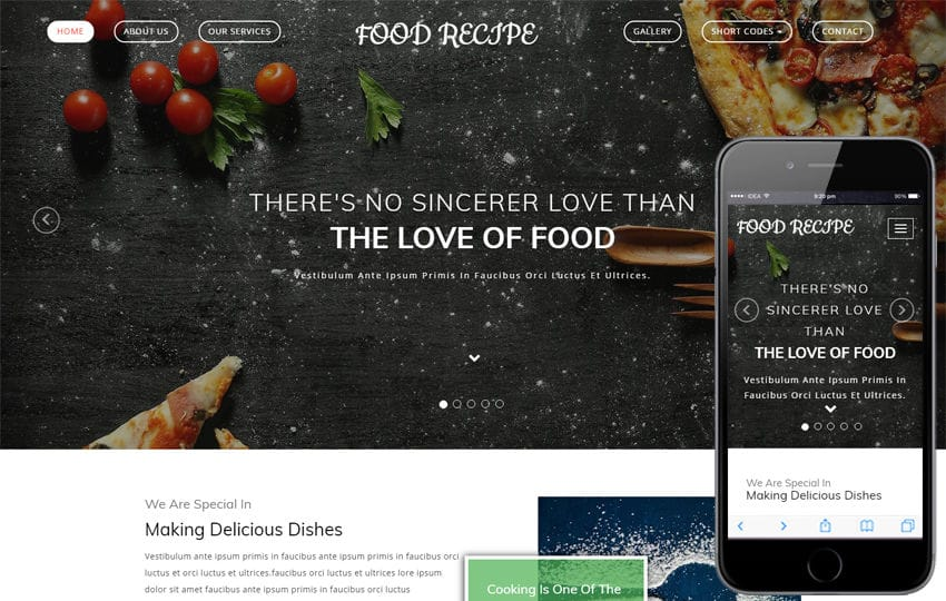 Food Recipe a Hotel Category Bootstrap Responsive Web Template Mobile website template Free