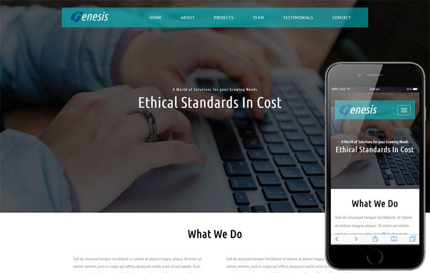 Genesis a Corporate Category Flat Bootstrap Responsive Web Template Mobile website template Free