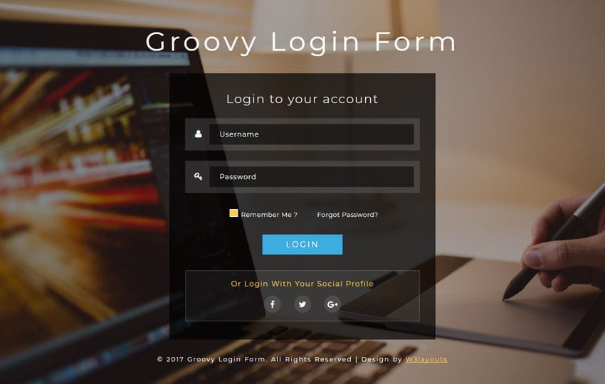 Groovy Login Form a Responsive Widget Template Mobile website template Free