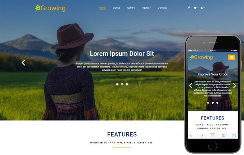 Growing an Agriculture Category Bootstrap Responsive Web Template Mobile website template Free