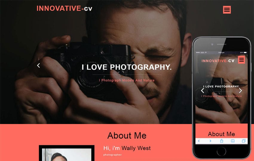 Innovative CV a Personal Category Bootstrap Responsive Web Template Mobile website template Free