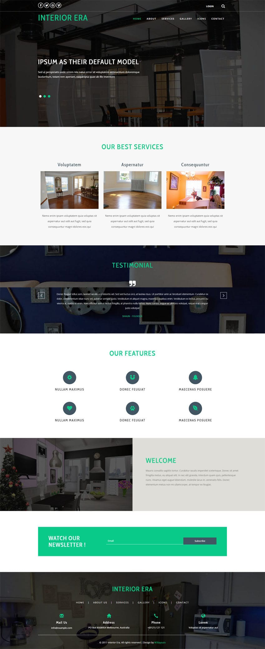 Interior era an interior category bootstrap responsive web for Interior design responsive website templates edge free download