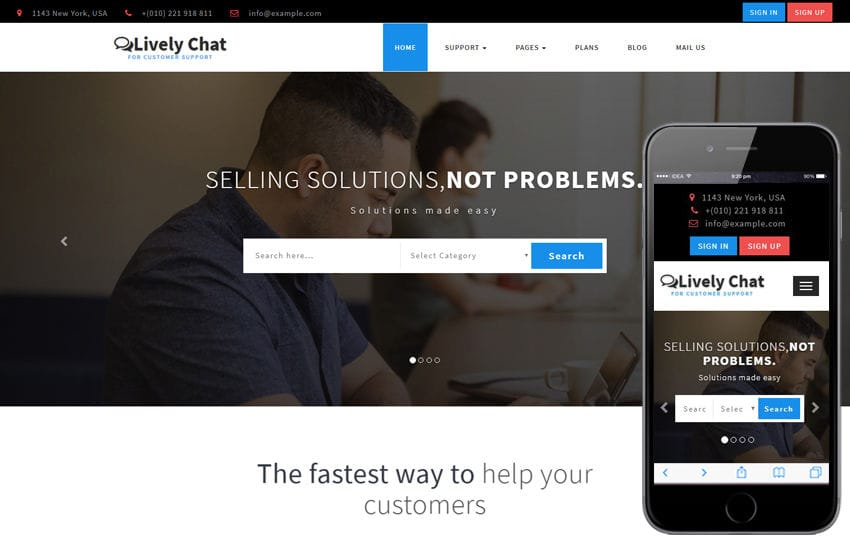 Lively Chat a Corporate Category Bootstrap Responsive Web Template Mobile website template Free