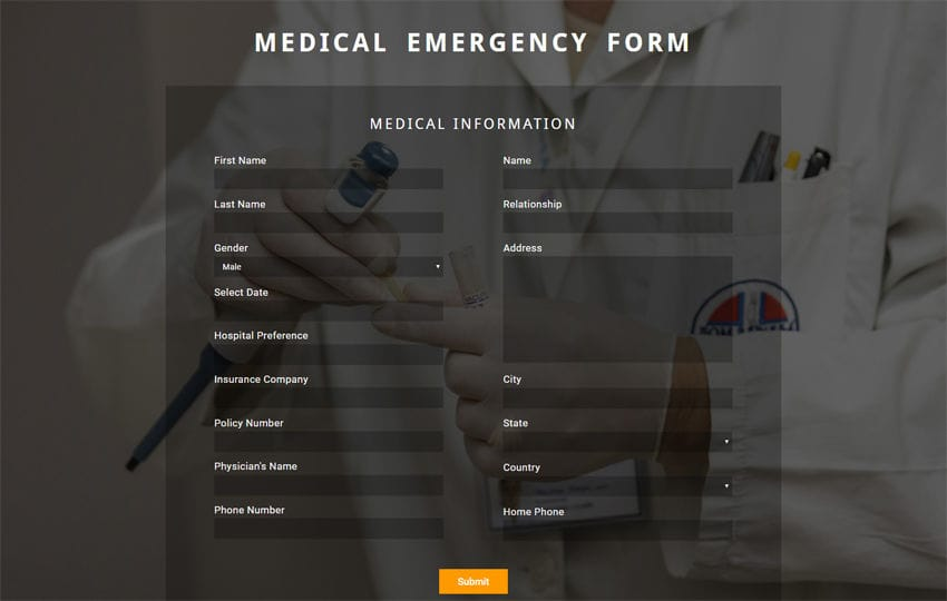 Medical Emergency Form Flat Responsive Widget Template Mobile website template Free