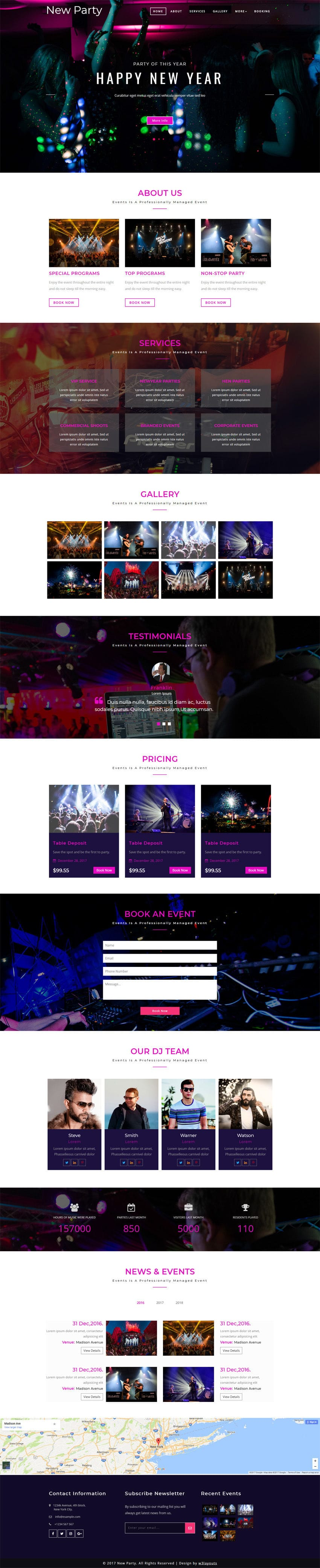 New Party Entertainment Category Bootstrap Responsive Web Template