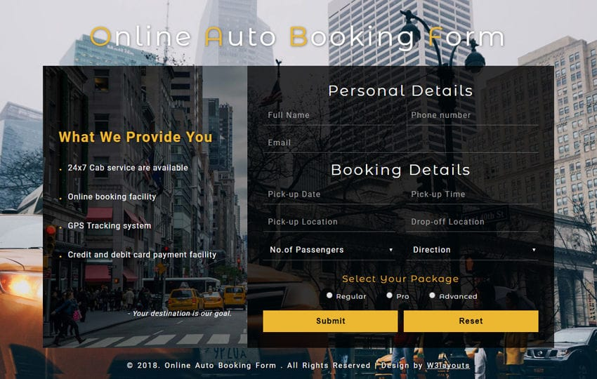 Online Auto Booking Form a Responsive Widget Template Mobile website template Free