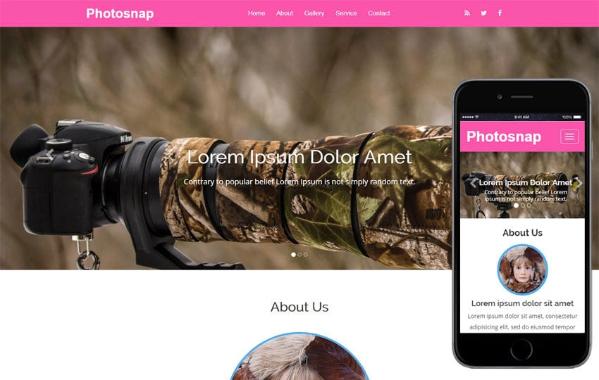 Photosnap a Photo Gallery Category Bootstrap Responsive Web Template Mobile website template Free