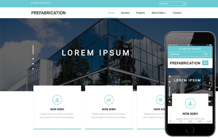 prefabrication a real estate bootstrap responsive web template mobile website template free