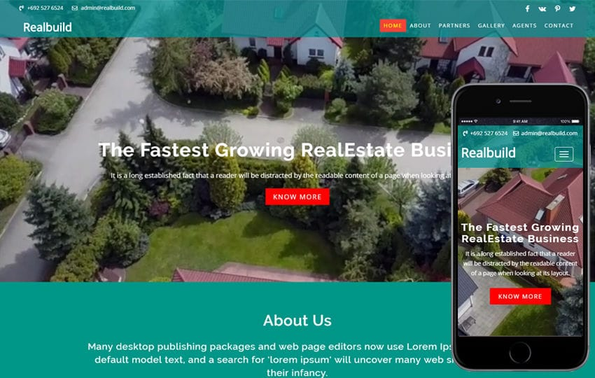 Realbuild a Real Estate Category Bootstrap Responsive Web Template