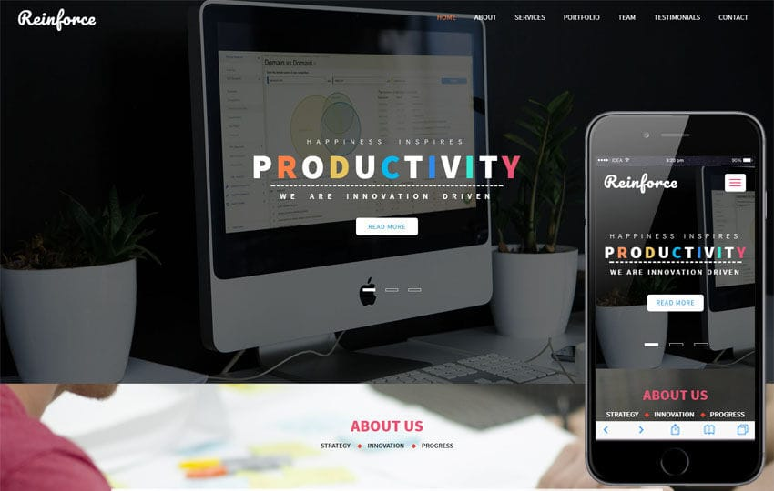 Reinforce a Corporate Category Bootstrap Responsive Web Template Mobile website template Free