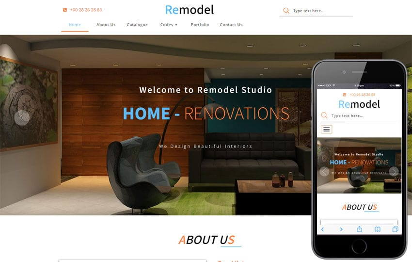 Remodel an Interior Category Bootstrap Responsive Web Template Mobile website template Free