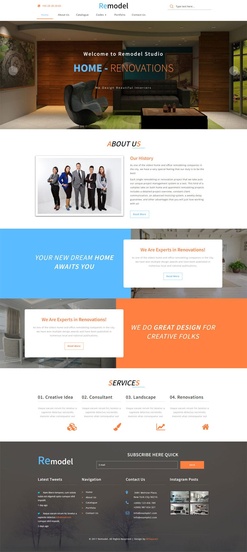 Remodel an interior category bootstrap responsive web template for Interior design responsive website templates edge free download