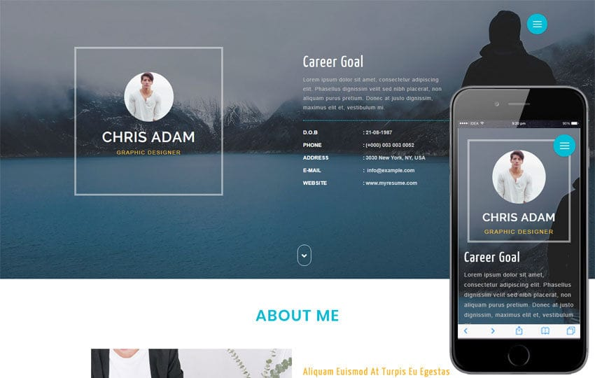 C Resume a Personal Category Bootstrap Responsive Web Template Mobile website template Free
