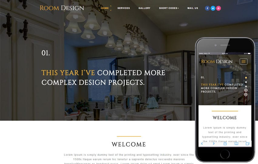 Room Design an Interior Category Bootstrap Responsive Web Template Mobile website template Free