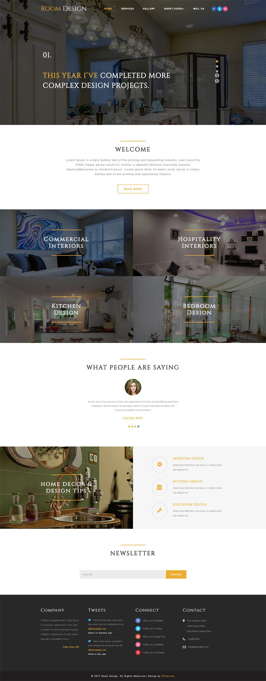 Room design an interior category bootstrap responsive web for Free room design website