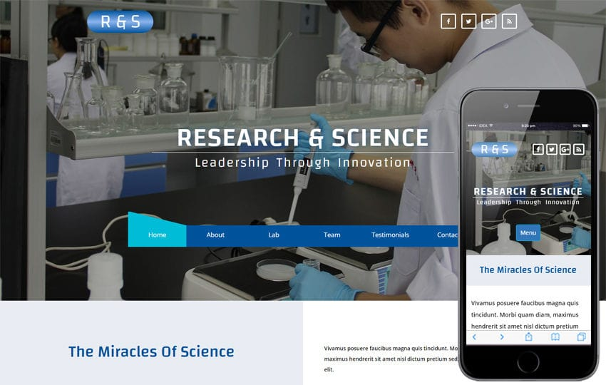R & S a Medical Category Bootstrap Responsive Web Template Mobile website template Free