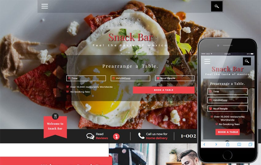 Snack Bar a Restaurants Category Bootstrap Responsive Web Template Mobile website template Free