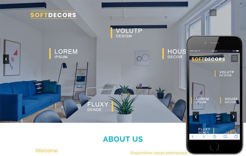 Soft Decor an Interior Category Bootstrap Responsive Web Template Mobile website template Free