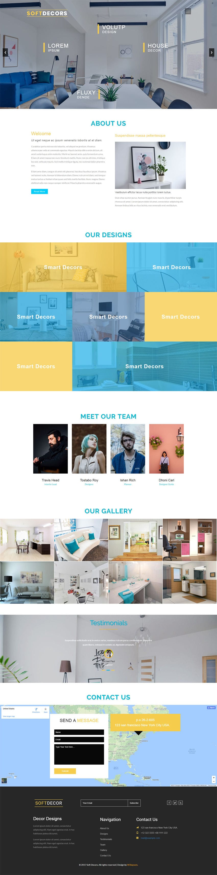 Soft decor an interior category bootstrap responsive web for Interior design responsive website templates edge free download