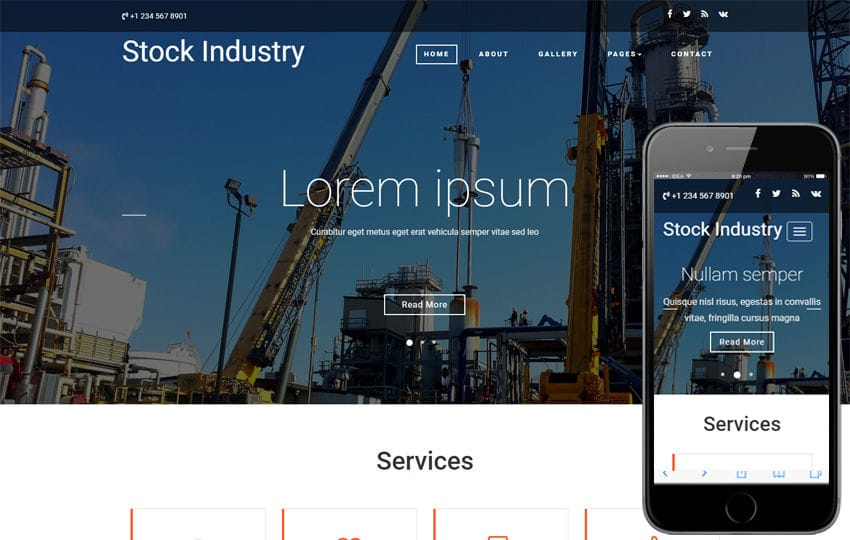 Stock Industry an Industrial Bootstrap Responsive Web Template Mobile website template Free