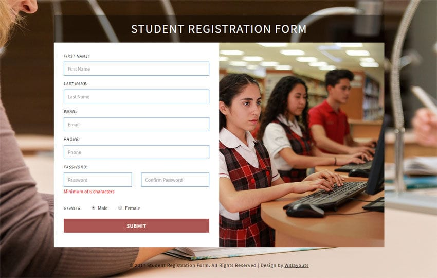 Student Registration Form a Flat Responsive Widget Template Mobile website template Free