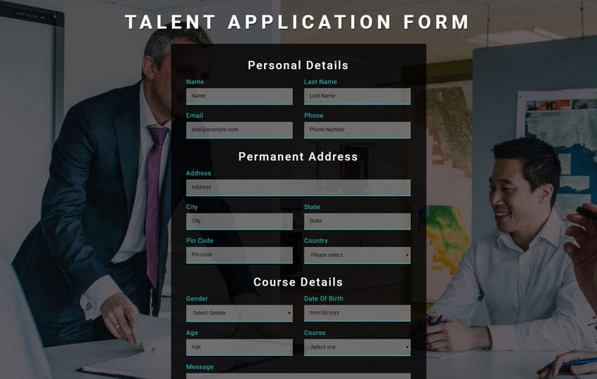 Talent Application Form a Flat Responsive Widget Template Mobile website template Free