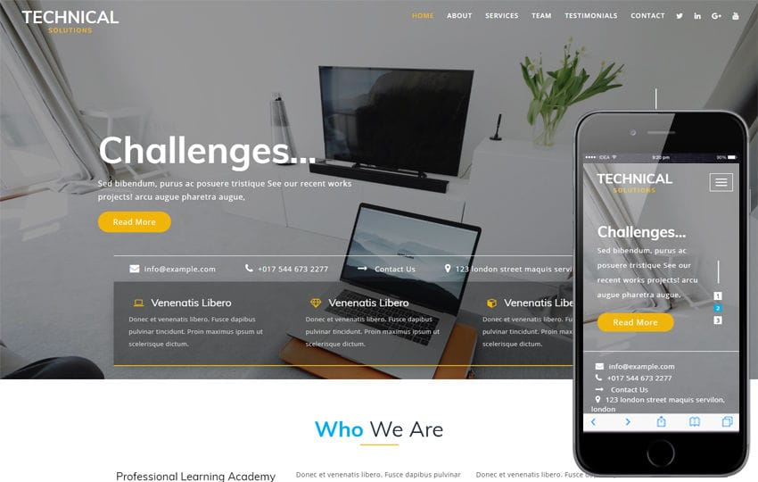 Technical Solutions a Corporate Category Bootstrap Responsive Web Template Mobile website template Free