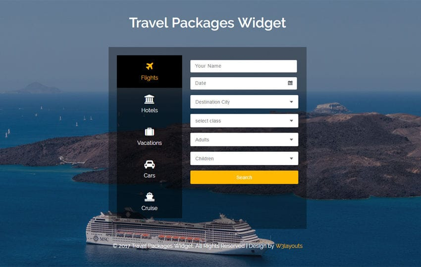 Travel Packages Widget Flat Responsive Widget Template Mobile website template Free