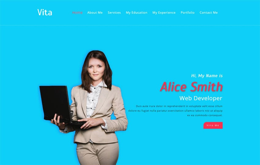 Vita a Personal Category Bootstrap Responsive Web Template Mobile website template Free