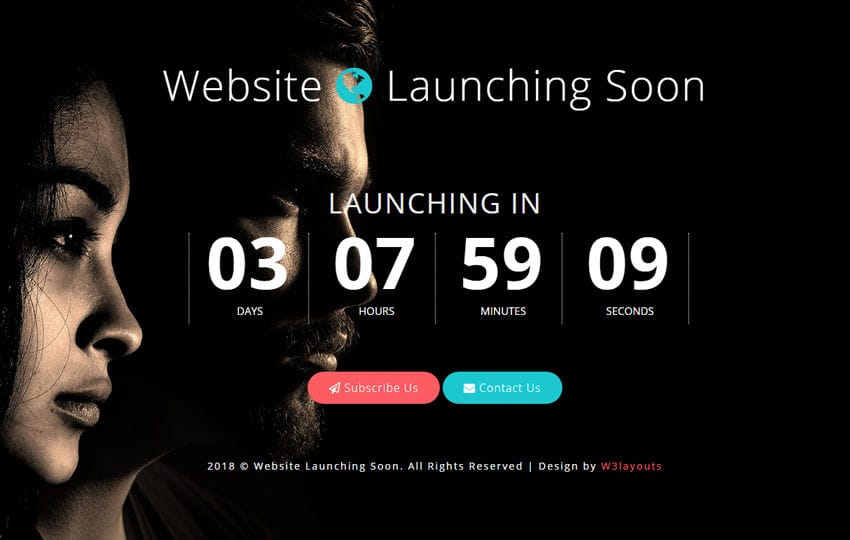 Website Launching Soon Flat Responsive Widget Template Mobile website template Free