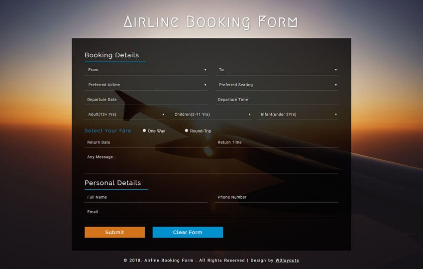 Airline Booking Form a Responsive Widget Template Mobile website template Free