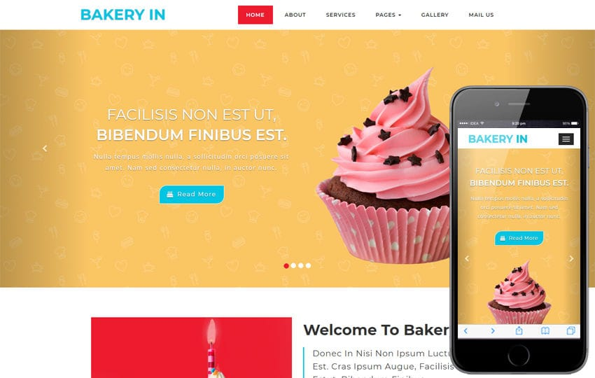 Bakery Hotel Category Bootstrap Responsive Web Template Mobile website template Free