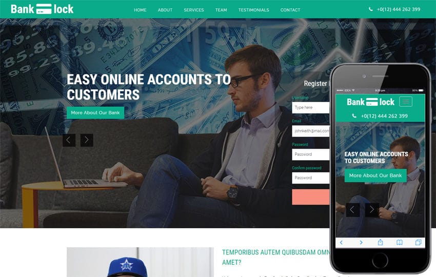 Bank Lock Banking Category Bootstrap Responsive Web Template Mobile website template Free