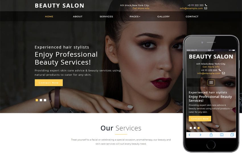 Nail salon website templates.